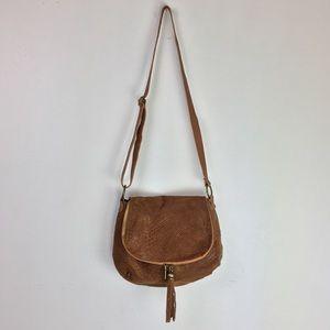 Handbags - Italian Snake Print Embossed Leather Bag w/ Tassel